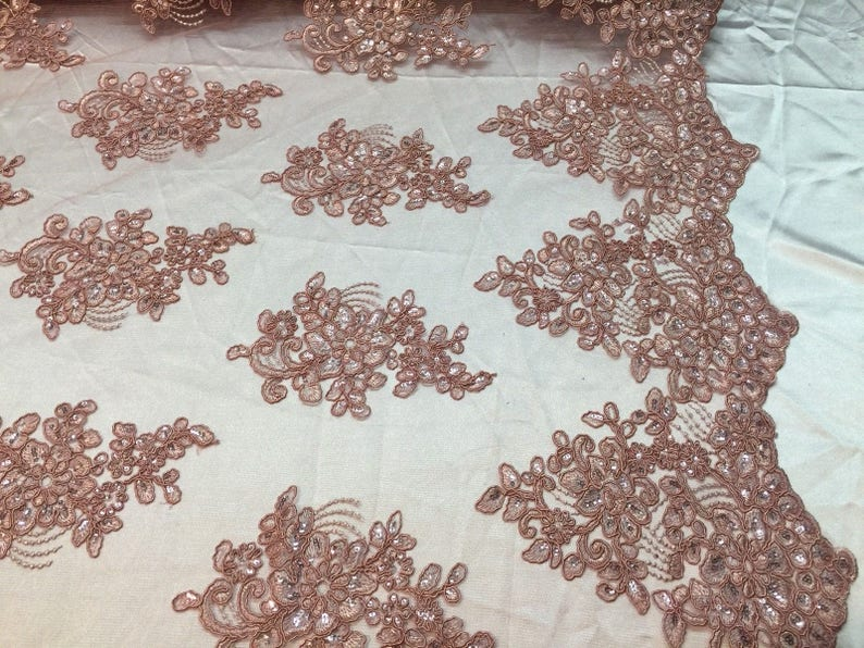 Dusty Rose Lace Fabric Corded Flowers Embroidery With Sequins For Wedding Dress Bridal Veil By The Yard