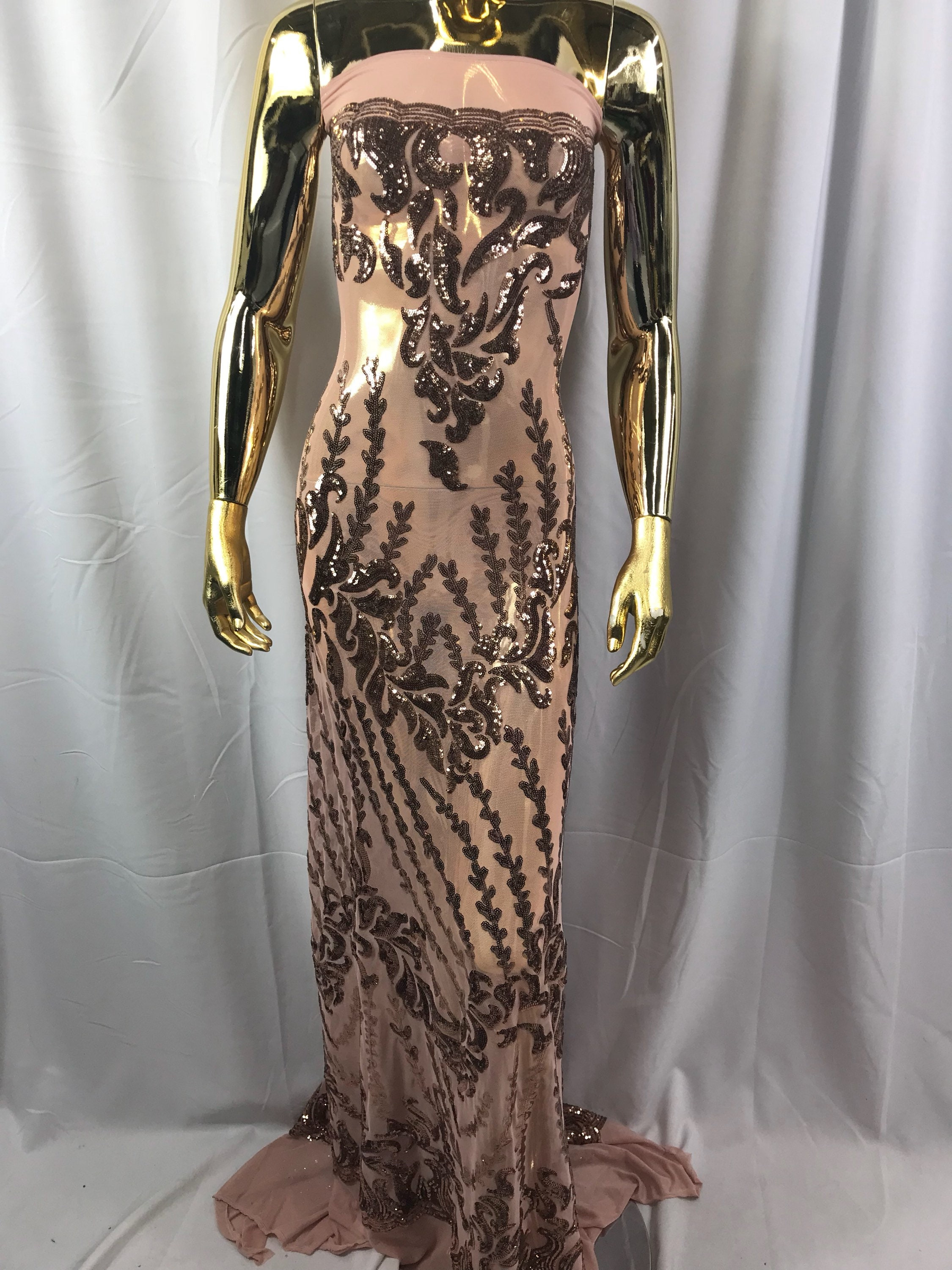 4 Way Stretch Fabric Sequins By The Yard Rose Gold Embroidered Mesh Dress Top Fashion For Bridal Veil Wedding Lace Decoration