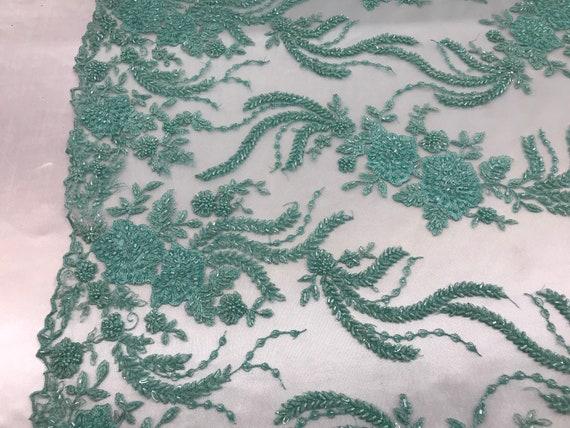 Tissu Tissu Tissu perlé - menthe dentelle par la Cour brodé dentelle Wiht perles et Sequins Français mariée voile de mariage décoration de maison 22e8ae