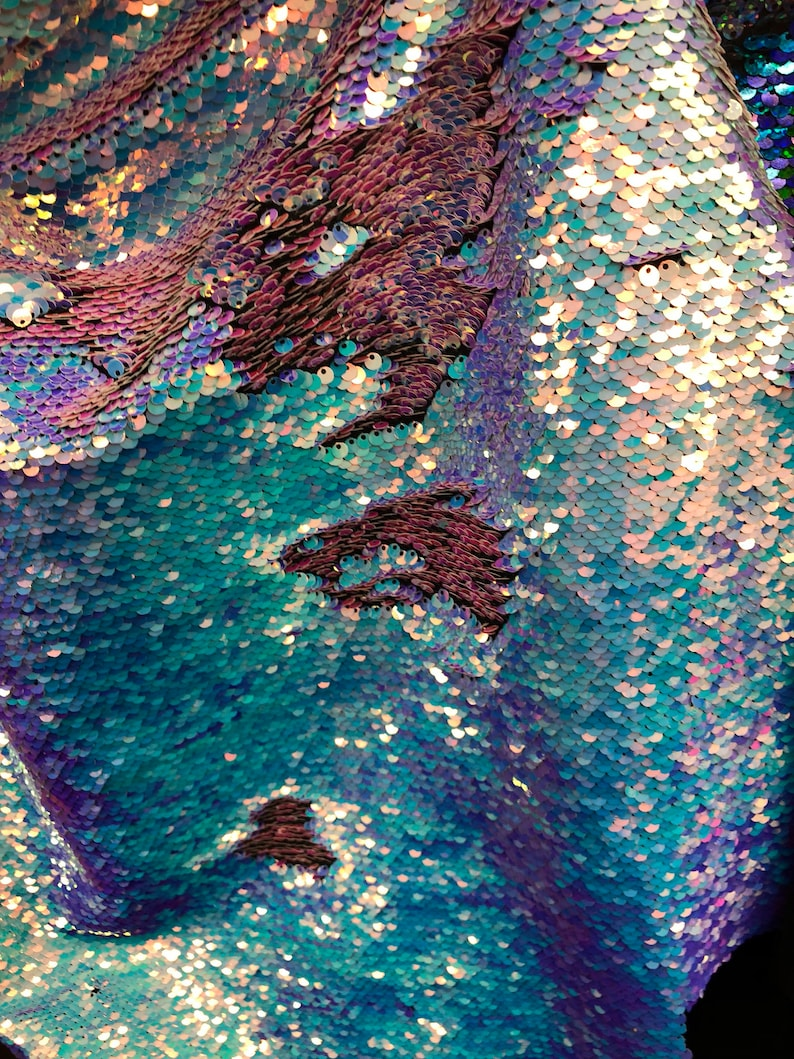 f9ba5bf83414a8 NEW Mermaid Sequins Fabric By The Yard Reversible 2 Way