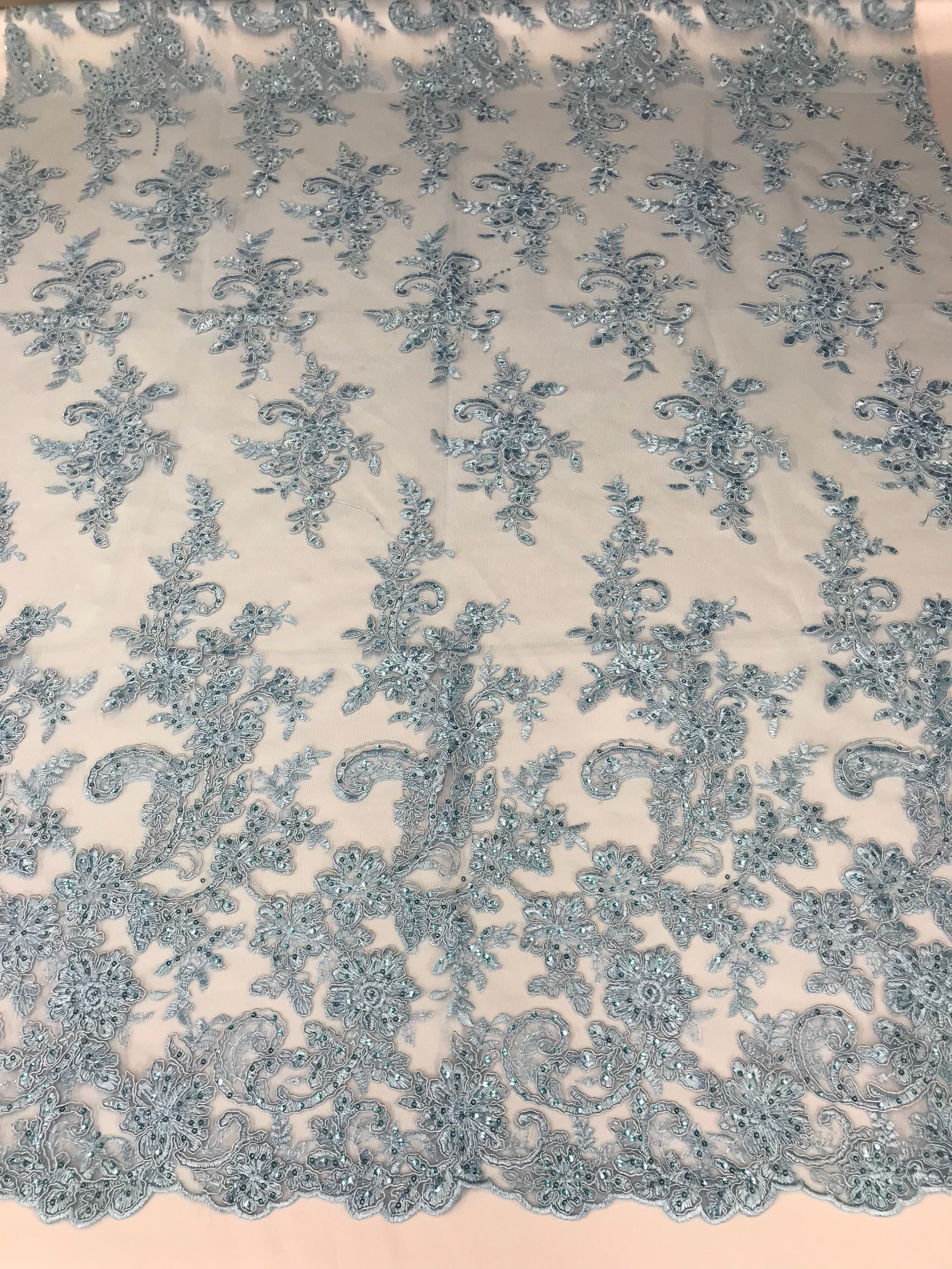 Mesh lace fabric Corded Flowers Embroidered Baby Blue by the yard.