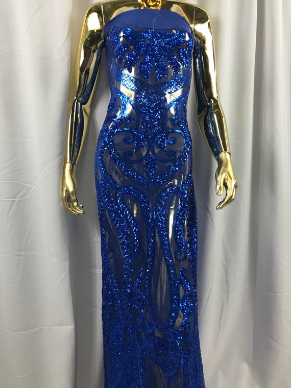 Tissu Stretch bleu royal 4 par la la la Cour paillettes tissu broderie Power Mesh robe Top Fashion bal dentelle décoration de mariage b0219b