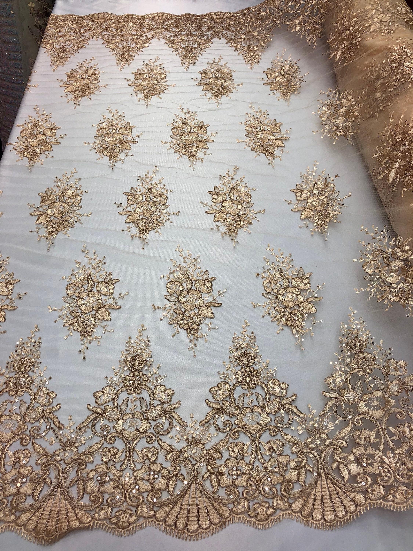 Tissu de dentelle Champagne Sequins - cordée broderie Soft fleurs-Floral avec Mini-Sequins Soft broderie maille pour mariage robe voile de mariée à la verge 2a842b