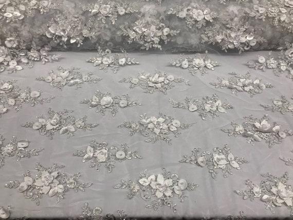 Voile tissu de mariée 3D fleur tissu Voile perlé - par les perles de dentelle blanche de Cour pour la décoration de mariage Top robe maille 8971f6