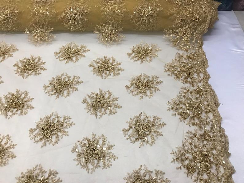 Lace Fabric Gold Gaviota Design Embroider Beaded Mesh Dress Wedding Decoration Bridal Veil Nightgown By The Yard