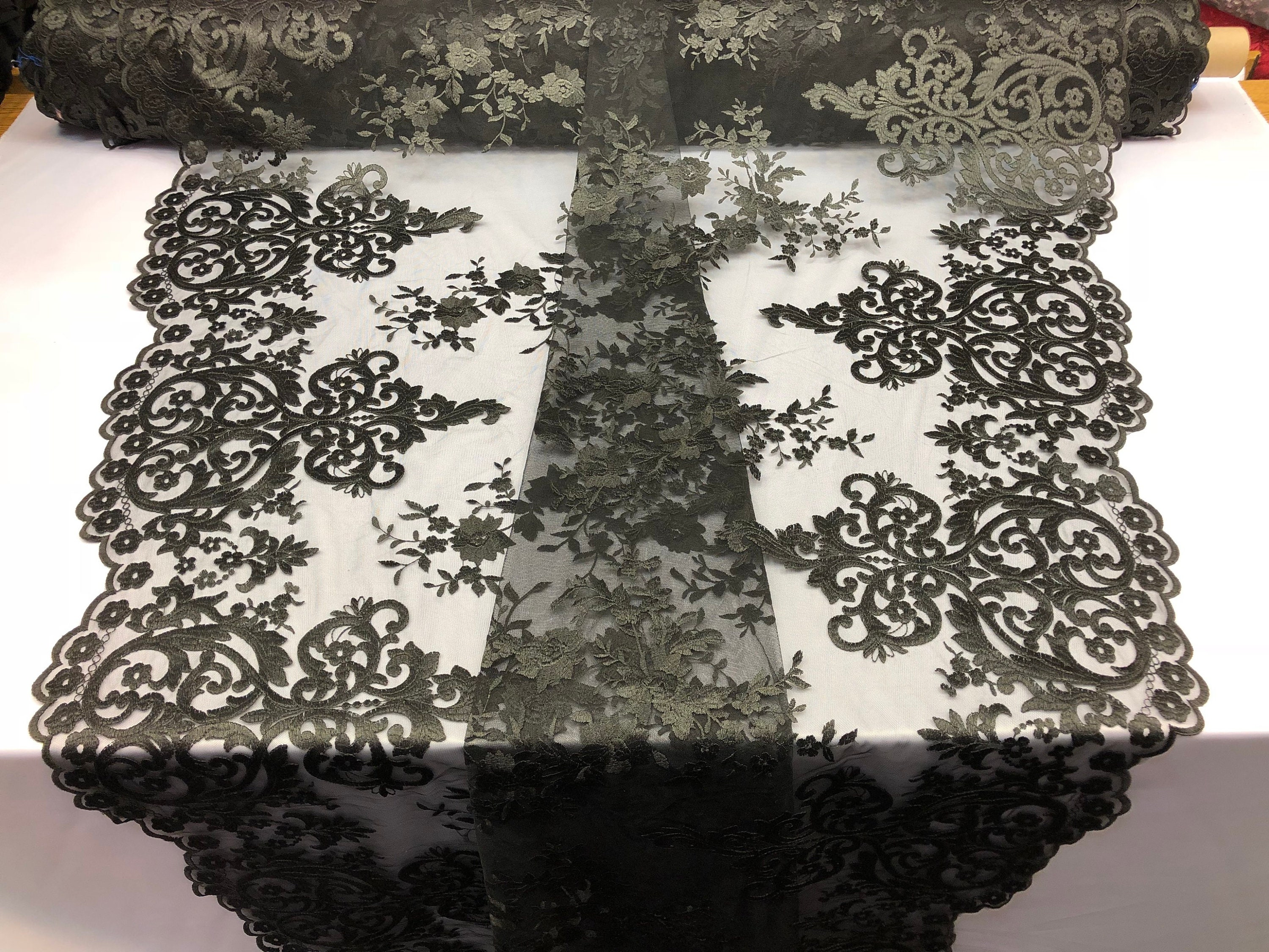 Embroidered 2 way Stretch Floral Black For Dress By The Yard Lace Fabric