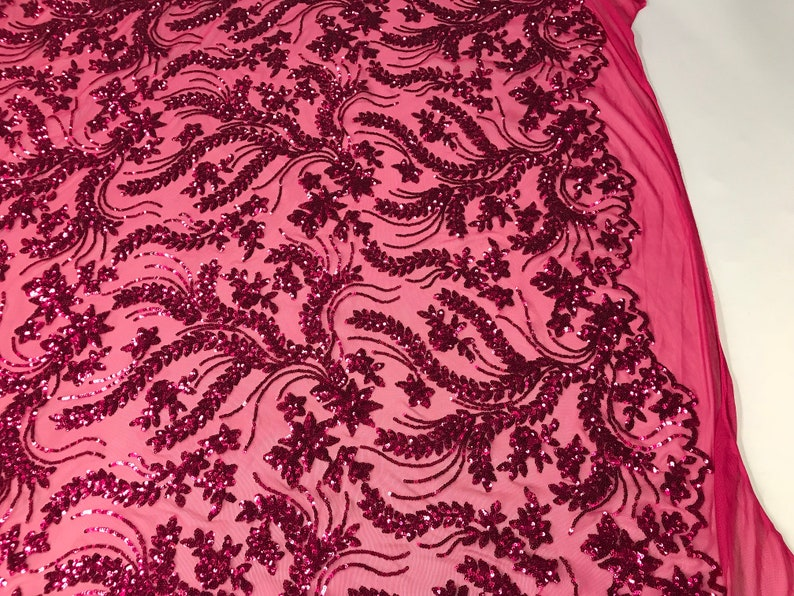 4 Way Stretch Fabric Embroidered Sequins Lace Fashion Dress Wedding Decoration By The Yard Fuchsia Power Mesh