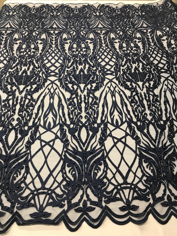 Tissu perlé - marine perles dentelle rebrodée de perles marine à la verge pour la décoration de mariage Top robe voile de mariée maille ea3c7a