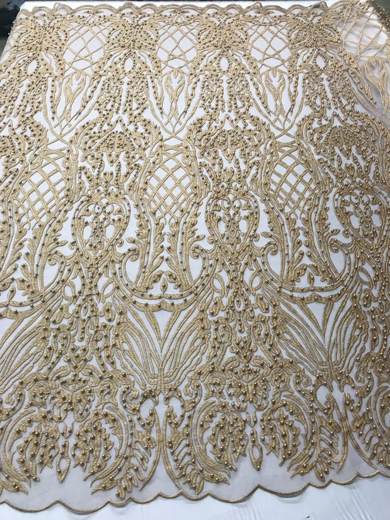 By The Yard. Super Beaded Fabric Mesh Lace For Bridal Wedding Dress Royal Blue