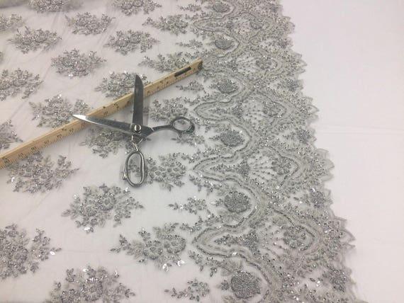 Perles d'argent brodé tissu - la dentelle perles lourdes pour la - décoration de mariage haut robe voile de mariée fleur-Floral maille par la Cour 1e6407
