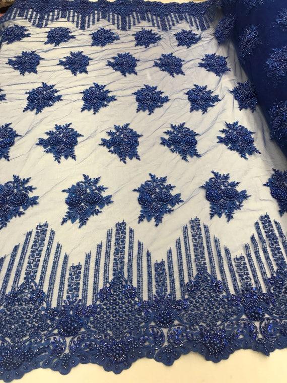 Nuptiale perlée - dentelle tissu bleu brodé maille robe Fleur Floral de mariage voile par la Cour