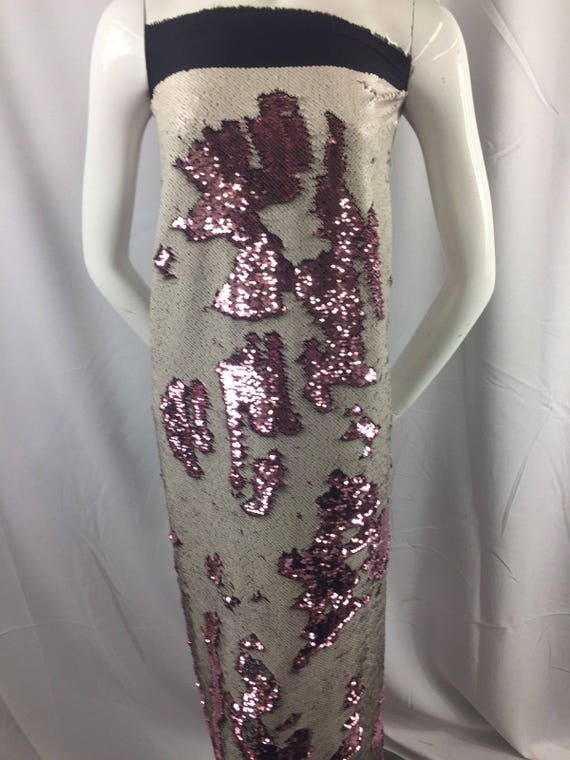 030d51e6 Mermaid Sequins Fabric 2 Way Stretch Shiny Reversible Dusty Rose-White By  Yard
