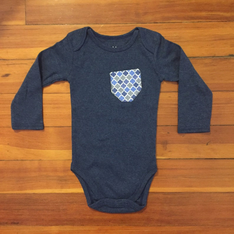 12 Months Blue /& Gray Pocket Long Sleeve Onesie