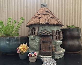 Fairy Garden | Nutty Nook 4-pc Set | Charming Cottage, 2 Flowers & Stone Path | Miniature Resin Hut Home with Thatch Roof for Fairies Gnomes