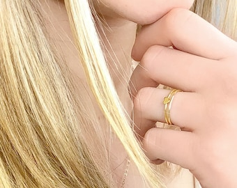 Tiny Heart Ring, Love Ring, Women's Gold Ring, Stacking Rings, 14kt Gold Filled or Sterling Silver, Dainty Ring, Minimalist Jewelry Gift
