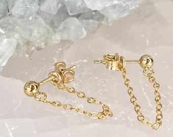 Chain Earrings, 14kt Gold Filled, Sterling Silver, Chain Dangle Earrings, Gold Chain Earring, Minimalist Drop Studs, Chain Ear Jacket