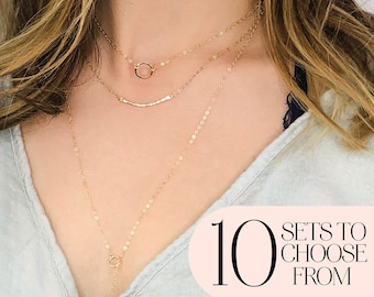 Set of 3 Layered Necklaces, Gift for Sister, Gift for Friend, Gift for Girlfriend, Gift for Wife, in 14kt Gold Filled, Rose Gold & Silver