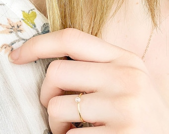 Tiny Pearl Ring, Gold Stacking Ring, June Birthstone Ring, Freshwater Pearl Ring, Dainty Pearl Ring, 14kt Gold Filled or Silver Pearl Ring