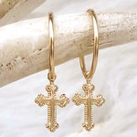 Gold Filled Cross Earrings, Religious Earrings, Silver Cross Hoop Earrings, Earrings With Cross Charm, Huggie Hoops, Tiny Small Medium Large