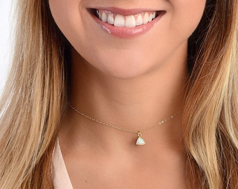 Opal Choker Necklace, Gold Chain Choker, Delicate Layers Gemstone Choker, Dainty Choker Necklace, October Birthstone, Gold Fill or Silver