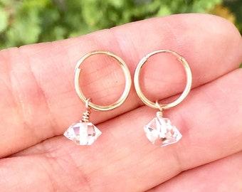 Herkimer Diamond Hoop Earrings, Quartz Earrings, Raw Diamond Hoops, April Birthstone Jewelry, in 14kt Gold Filled, Rose or Sterling Silver