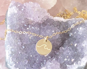 Gold Wave Necklace, Surfer Necklace, Beach Jewelry, Silver Wave Jewelry, Ocean Wave Pendant, Wave Charm, in 14kt Gold Filled, Rose, Silver