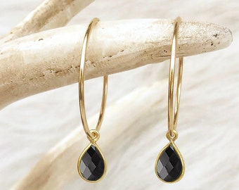 Black Onyx Earrings, Black Stone Earrings, Black Onyx Hoops, Jewelry Gift, Small Medium or Large Hoops, in 14kt Gold Filled, Sterling Silver