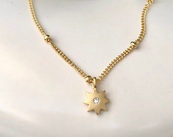 Minimal Star Necklace, Simple Sun Necklace, Mini Sun Charm, Beach Charm, Everyday Sun Necklace, Dainty Starburst, 14kt Gold Filled or Silver