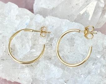 Stud Hoop, Post Hoop Studs, Modern Hoops, Hoops with Stud, Stud Hoop Earrings, Basic Hoop Earrings, in 14kt Gold Filled or Sterling Silver