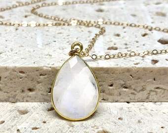 Moonstone Necklace, White Stone Necklace, Dainty Gemstone Necklace, Bridesmaid Necklace, June Birthstone, 14kt Gold Fill or Sterling Silver