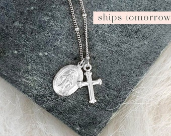 Silver Religious Medal, Virgin Mary Pendant, Dainty Cross Pendant, Silver Medallion Necklace, Catholic Pendant, Sterling Silver, Gold Fill