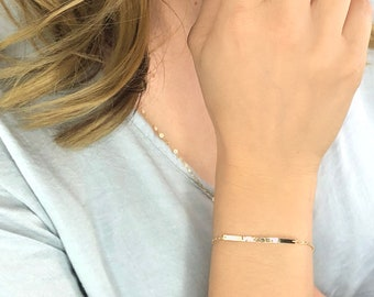 Skinny Long Hand Hammered Bar Bracelet, Dainty Minimal Thin Bar Bracelet, Simple Delicate Narrow Handmade Bar, 14kt Gold Fill, Silver & Rose