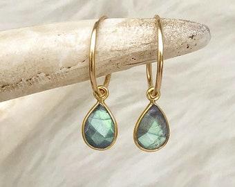 Labradorite Earrings, Labradorite Drop Earrings, 14kt Gold Filled Hoops, Gemstone Hoops, Sterling Silver Hoop, Gift for Her, Small Med Large