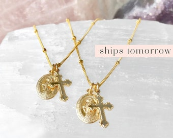 Dainty Virgin Mary Necklace with Cross, Miraculous Pendant, Catholic Necklace, Religious Necklace, Baptism, 14kt Gold Filled, Rose, Silver