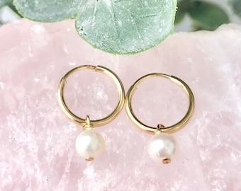 Pearl Hoop Earrings, Pearl Earrings, Simple Pearl Hoops, Round Pearl, Baroque Pearl,Minimalist Jewelry, 14kt Gold Filled, Rose or Silver