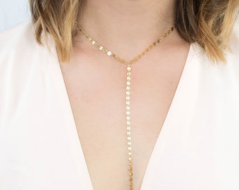 Coin Choker Necklace, Gold Disc Lariat Necklace, Long Statement Necklace For Women, Dainty Disk Y Drop, Silver, 14kt Gold Fill or Rose Gold