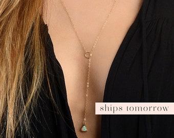 Opal Lariat, Women Opal Necklace, Opal Y Necklace, Opal Drop Necklace, 14kt Gold  Fill Lariat, Silver Opal Necklace, White Opal, Opal Charm