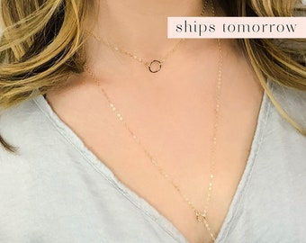 Dainty Chain Choker, Simple Gold Choker Necklace, Delicate Open Circle Necklace, Minimal Necklace, Karma Circle, Sterling Silver, Gold Fill