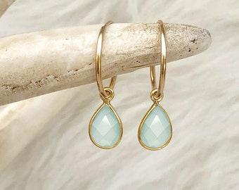 Aqua Chalcedony Earrings, March Birthstone, Aqua Earrings, Teardrop Gemstone, Small Medium or Large Hoop, 14kt Gold Filled, Sterling Silver