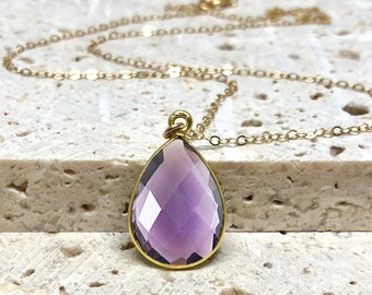 Amethyst Necklace, Purple Gemstone Necklace, Amethyst Jewelry, February Birthstone Necklace, Violet Stone, 14kt Gold Fill & Sterling Silver