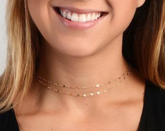 Dainty Chain Choker, Simple Gold Choker, Dainty Jewelry, Layering Necklace, Wrap Choker Necklace, Minimalist Jewelry, Delicate Gold Choker,