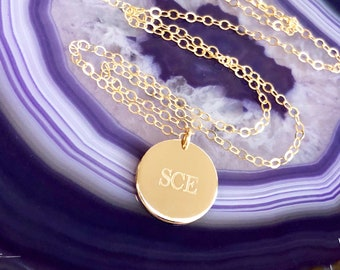 Engraved Disc, Dainty Disc Necklace, Delicate Initial Necklace, Custom Engraved Disc, Wife Necklace, Small Disc, Gold Fill Rose Silver, 13mm
