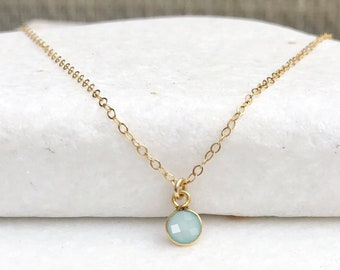 Tiny Gemstone Necklace, Dainty Birthstone Necklace, Simple Everyday Layering Necklace, Bridesmaid Jewelry, Gold Fill or Silver, Gift for Her