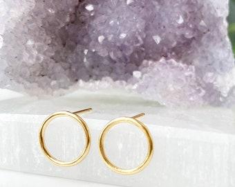 Open Circle Earrings, Minimalist Earrings, Gold Circle Earrings, Geometric Earrings, Open Circle Studs, 14k Gold Filled, Small Medium Large