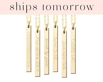 Bible Verse Necklace, Personalized Bar Necklace, Best Friend Sister BFF Gift, Christian Scripture, Jewelry Gift, Silver Rose Gold Filled