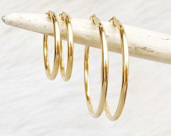 14kt Gold Filled Tube Hoops, Thick Hoop, Minimal Hoop, Leverback Hoop, Hollow Hoop, Everyday Hoop, Womens Hoop, Hinge Hoop, Gold Rose Silver