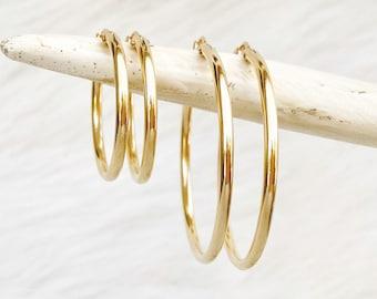 Dainty Hoop Earrings, 14kt Gold Filled Earrings, Sterling Silver or Rose Gold, Minimalist Earrings, Classic Thin Hoops, Thin, Lightweight LB
