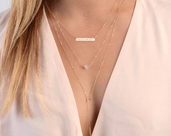 Personalized Necklace Set, Delicate Layered Necklaces, Set of 3 Necklaces, Gold Layering Necklaces, Bar Necklace Set, Rose Gold Fill, Silver