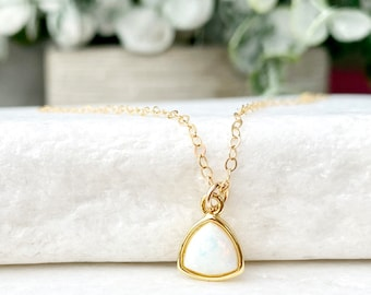 Gold Opal Necklace, Opal Jewelry, Tiny Opal, Minimal Necklace, Minimalist Jewelry, Dainty Opal, Delicate Layers, in 14kt Gold Filled, Silver