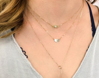 Moonstone Gemstone Layering Necklace Set, Dainty Choker Necklace Set, Custom Set of Gold Filled & Silver Necklaces, 3 Piece Jewelry Set